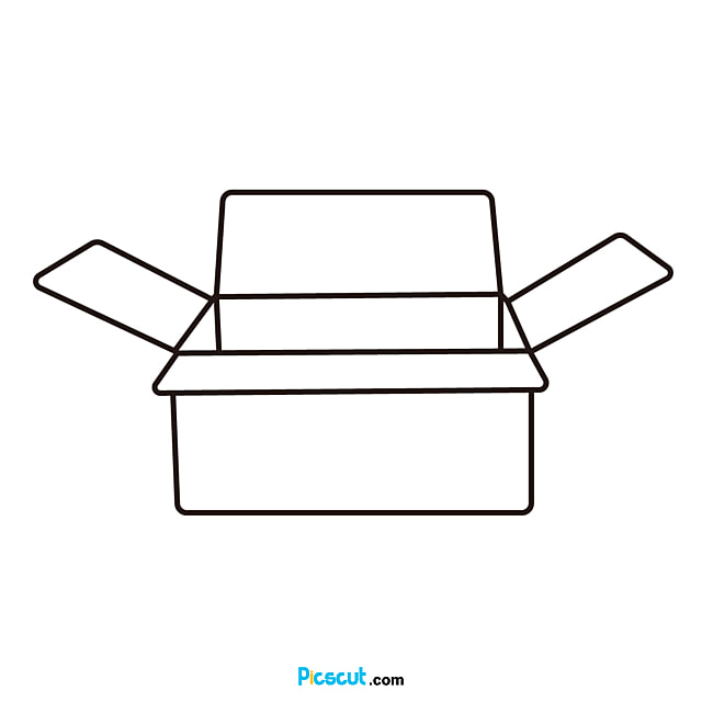 Box Clipart Black And White Open Line Png Image For Free Download Picscut