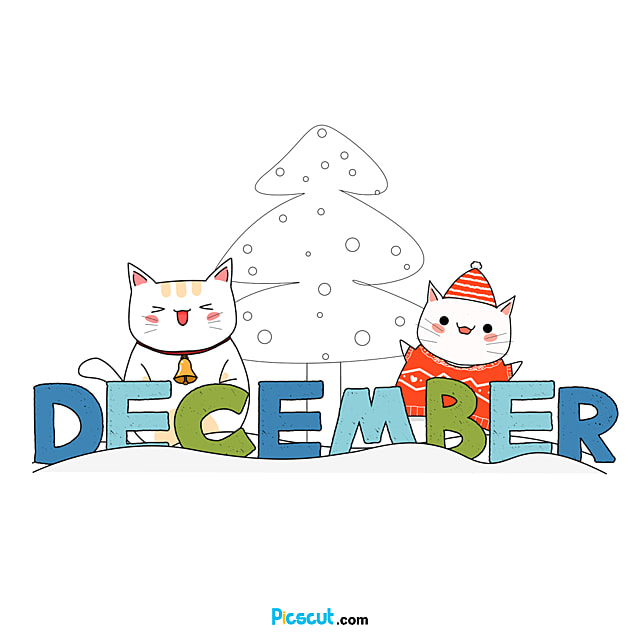 December Clipart Christmas Cat Snow Png