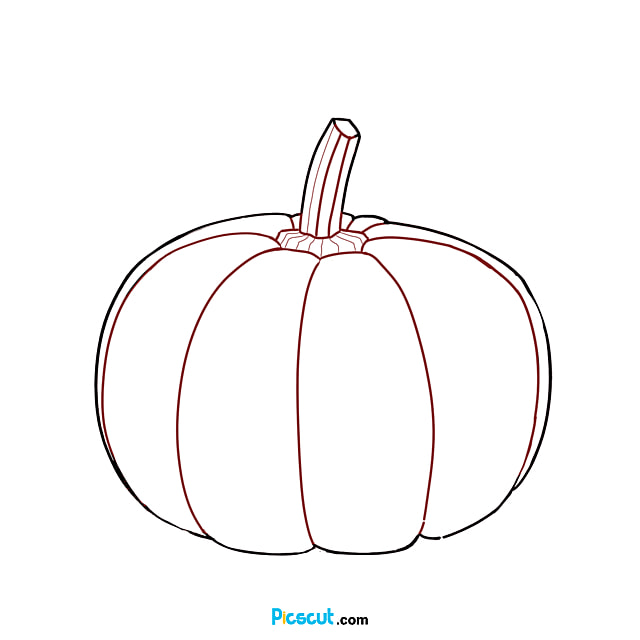 Pumpkin Clipart Black And White Hand Painted Cut Drawing Png Image For Free Download Picscut