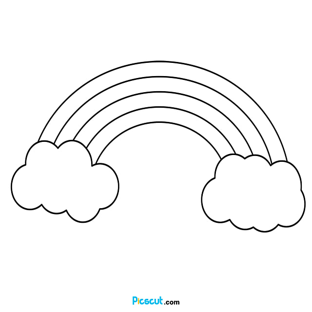 Rainbow Clipart Black And White Material Png Image For Free Download Picscut