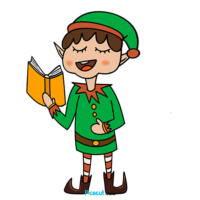 Elf Clipart Elves Reading Merry Christmas Png