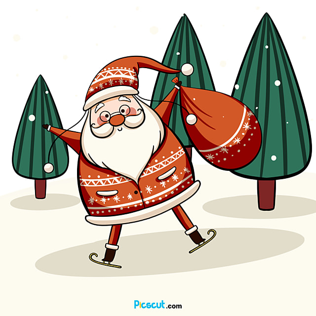 Santa Claus Clipart Christmas Tree Snow Hand Painted Png