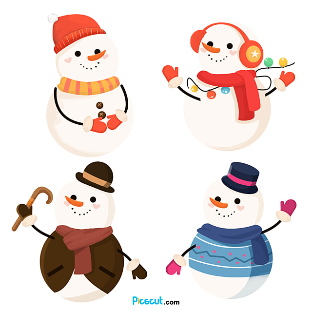 Snowman Clipart Christmas Hat Cane Light Ball Scarf Gloves Png