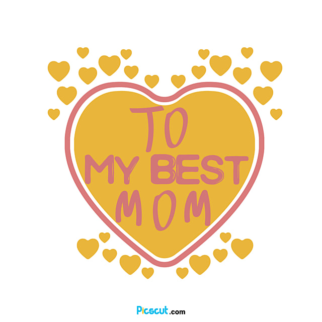 Mothers Day Yellow Love Art Font Svg Png